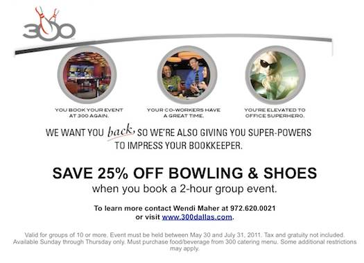 SAVE 25% OFF BOWLING & SHOES when you book a 2-hour group event.