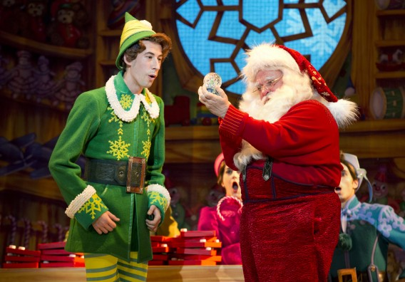 "Matt Kopec (Buddy) and Gordon Gray (Santa) in ""Elf The Musical."" Photo by Joan Marcus"